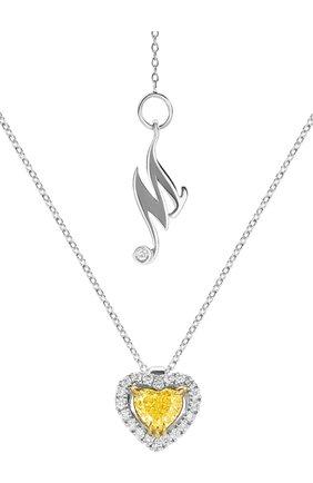 Женские кулон MERCURY бесцветного цвета, арт. MP18749WYD | Фото 1 (Материал сплава: Белое золото, Желтое золото; Драгоценные камни: Бриллианты)