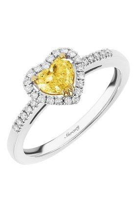 Женские кольцо MERCURY бесцветного цвета, арт. MR18749WYD | Фото 1 (Материал сплава: Белое золото, Желтое золото; Драгоценные камни: Бриллианты)