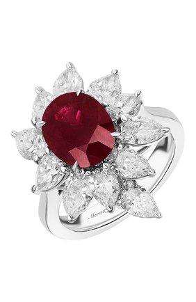Женские кольцо MERCURY бесцветного цвета, арт. MR22886WR | Фото 1 (Материал сплава: Белое золото; Драгоценные камни: Рубины, Бриллианты)