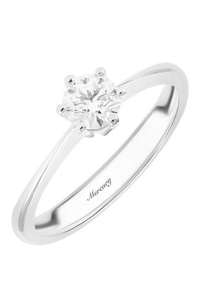 Женские кольцо MERCURY бесцветного цвета, арт. MR13219/WG/1RD0.40 | Фото 1 (Материал сплава: Белое золото; Драгоценные камни: Бриллианты)