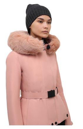 Женская шапка из шерсти и кашемира BOSS серого цвета, арт. 50461839   Фото 2 (Материал: Шерсть)