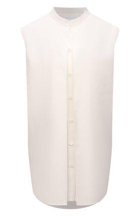 Женская шелковая блузка BURBERRY белого цвета, арт. 8044673 | Фото 1 (Длина (для топов): Удлиненные; Материал внешний: Шелк; Материал подклада: Шелк; Принт: Без принта; Стили: Кэжуэл)