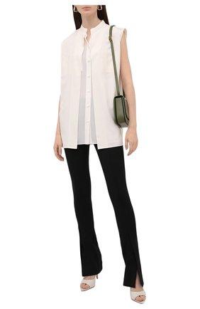 Женская шелковая блузка BURBERRY белого цвета, арт. 8044673 | Фото 2 (Длина (для топов): Удлиненные; Материал внешний: Шелк; Материал подклада: Шелк; Принт: Без принта; Стили: Кэжуэл)