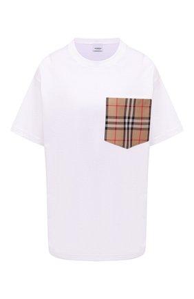 Женская хлопковая футболка BURBERRY белого цвета, арт. 8043386 | Фото 1 (Рукава: Короткие; Материал внешний: Хлопок; Длина (для топов): Стандартные; Женское Кросс-КТ: Футболка-одежда; Принт: С принтом; Стили: Кэжуэл)
