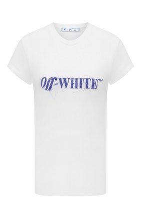 Женская хлопковая футболка OFF-WHITE белого цвета, арт. 0WAA040F21JER002 | Фото 1 (Рукава: Короткие; Длина (для топов): Стандартные; Материал внешний: Хлопок; Женское Кросс-КТ: Футболка-одежда; Принт: С принтом; Стили: Спорт-шик)