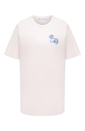 Женская хлопковая футболка OFF-WHITE бежевого цвета, арт. 0WAA089F21JER002 | Фото 1 (Материал внешний: Хлопок; Длина (для топов): Стандартные; Рукава: Короткие; Женское Кросс-КТ: Футболка-одежда; Принт: С принтом; Стили: Спорт-шик)