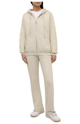 Женский хлопковый кардиган OFF-WHITE кремвого цвета, арт. 0WBE005F21JER001 | Фото 2 (Рукава: Длинные; Материал внешний: Хлопок; Длина (для топов): Стандартные; Женское Кросс-КТ: Кардиган-одежда; Стили: Спорт-шик)