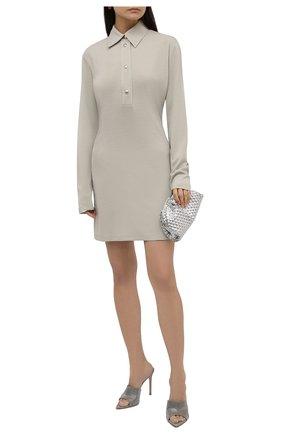 Женское платье из вискозы OFF-WHITE серого цвета, арт. 0WDB355F21JER001 | Фото 2 (Длина Ж (юбки, платья, шорты): Мини; Материал внешний: Вискоза; Рукава: Длинные; Женское Кросс-КТ: Платье-одежда; Стили: Кэжуэл; Случай: Повседневный; Кросс-КТ: Трикотаж)