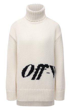 Женский свитер OFF-WHITE белого цвета, арт. 0WHF019F21KNI001 | Фото 1 (Материал внешний: Шерсть, Синтетический материал; Рукава: Длинные; Длина (для топов): Удлиненные; Женское Кросс-КТ: Свитер-одежда; Стили: Кэжуэл)