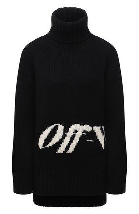Женский свитер OFF-WHITE черного цвета, арт. 0WHF019F21KNI001 | Фото 1 (Материал внешний: Синтетический материал, Шерсть; Длина (для топов): Удлиненные; Рукава: Длинные; Женское Кросс-КТ: Свитер-одежда; Стили: Кэжуэл)