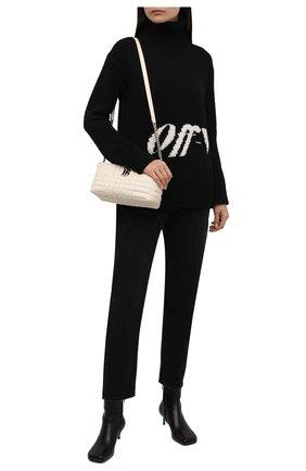 Женский свитер OFF-WHITE черного цвета, арт. 0WHF019F21KNI001 | Фото 2 (Материал внешний: Синтетический материал, Шерсть; Длина (для топов): Удлиненные; Рукава: Длинные; Женское Кросс-КТ: Свитер-одежда; Стили: Кэжуэл)