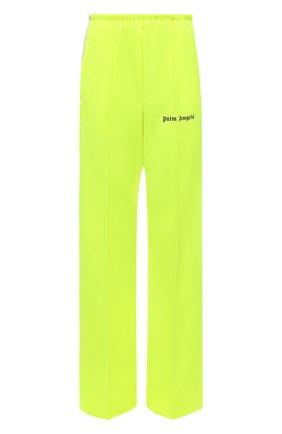 Женские брюки PALM ANGELS желтого цвета, арт. PWCA061F21FAB0036510   Фото 1 (Материал внешний: Синтетический материал; Длина (брюки, джинсы): Удлиненные; Женское Кросс-КТ: Брюки-одежда; Стили: Спорт-шик; Силуэт Ж (брюки и джинсы): Прямые)