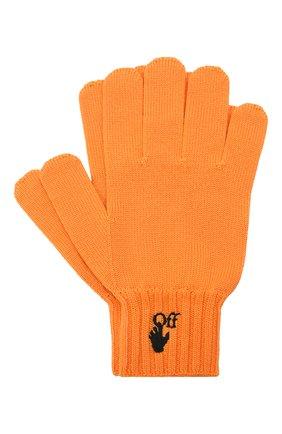 Мужские шерстяные перчатки OFF-WHITE оранжевого цвета, арт. 0MNE032F21KNI001 | Фото 1 (Материал: Шерсть; Кросс-КТ: Трикотаж)