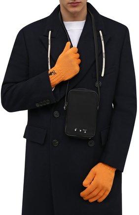 Мужские шерстяные перчатки OFF-WHITE оранжевого цвета, арт. 0MNE032F21KNI001 | Фото 2 (Материал: Шерсть; Кросс-КТ: Трикотаж)