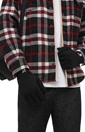 Мужские шерстяные перчатки OFF-WHITE черного цвета, арт. 0MNE032F21KNI001   Фото 2 (Материал: Шерсть; Кросс-КТ: Трикотаж)