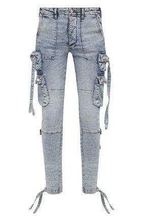 Мужские джинсы AMIRI голубого цвета, арт. MDR004-489   Фото 1 (Длина (брюки, джинсы): Стандартные; Материал внешний: Хлопок; Кросс-КТ: Деним; Силуэт М (брюки): Узкие; Детали: Потертости; Стили: Гранж)
