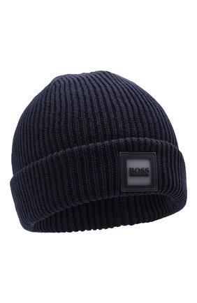 Детского хлопковая шапка BOSS темно-синего цвета, арт. J21242 | Фото 1 (Материал: Текстиль, Хлопок)