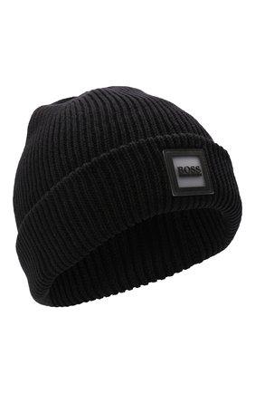 Детского хлопковая шапка BOSS черного цвета, арт. J21242 | Фото 1 (Материал: Текстиль, Хлопок)