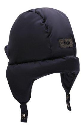Детского пуховая шапка IL GUFO темно-синего цвета, арт. A21E0219N0031 | Фото 2 (Материал: Синтетический материал, Текстиль)