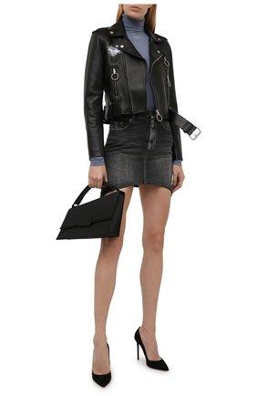 Женская кожаная куртка OFF-WHITE черного цвета, арт. 0WJG002F21LEA001 | Фото 2 (Материал подклада: Вискоза; Длина (верхняя одежда): Короткие; Рукава: Длинные; Женское Кросс-КТ: Замша и кожа; Стили: Гранж)