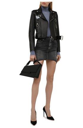 Женская водолазка OFF-WHITE серого цвета, арт. 0WAD122F21JER002 | Фото 2 (Рукава: Длинные; Длина (для топов): Стандартные; Материал внешний: Синтетический материал; Женское Кросс-КТ: Водолазка-одежда; Стили: Спорт-шик)