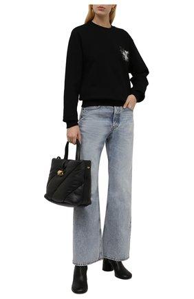 Женский хлопковый свитшот OFF-WHITE черного цвета, арт. 0WBA055F21JER010 | Фото 2 (Рукава: Длинные; Длина (для топов): Стандартные; Материал внешний: Хлопок; Женское Кросс-КТ: Свитшот-одежда; Стили: Спорт-шик)