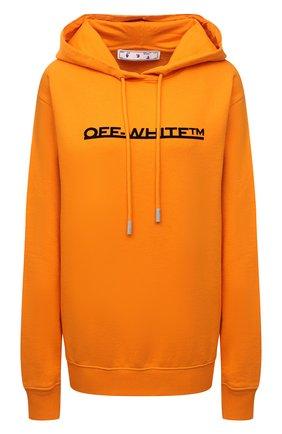 Женский хлопковое худи OFF-WHITE оранжевого цвета, арт. 0WBB035F21JER003 | Фото 1 (Рукава: Длинные; Материал внешний: Хлопок; Длина (для топов): Стандартные; Женское Кросс-КТ: Худи-одежда; Стили: Спорт-шик)