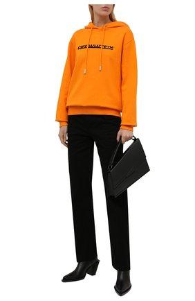 Женский хлопковое худи OFF-WHITE оранжевого цвета, арт. 0WBB035F21JER003 | Фото 2 (Рукава: Длинные; Материал внешний: Хлопок; Длина (для топов): Стандартные; Женское Кросс-КТ: Худи-одежда; Стили: Спорт-шик)