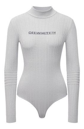 Женское боди из  вискозы OFF-WHITE серого цвета, арт. 0WHF025F21KNI001 | Фото 1 (Материал внешний: Вискоза; Рукава: Длинные; Женское Кросс-КТ: Боди-одежда; Стили: Спорт-шик)
