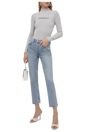 Женское боди из  вискозы OFF-WHITE серого цвета, арт. 0WHF025F21KNI001 | Фото 2 (Материал внешний: Вискоза; Рукава: Длинные; Женское Кросс-КТ: Боди-одежда; Стили: Спорт-шик)