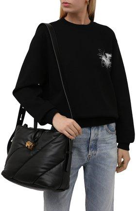 Женская сумка-тоут OFF-WHITE черного цвета, арт. 0WNA179F21LEA001   Фото 2 (Материал: Натуральная кожа; Размер: medium; Ремень/цепочка: На ремешке; Сумки-технические: Сумки-шопперы)