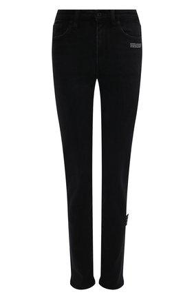 Женские джинсы OFF-WHITE черного цвета, арт. 0WYA003F21DEN002 | Фото 1 (Материал внешний: Хлопок; Длина (брюки, джинсы): Стандартные; Кросс-КТ: Деним; Силуэт Ж (брюки и джинсы): Узкие; Стили: Гранж; Детали: Потертости)