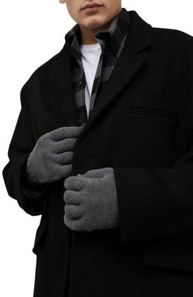 Мужские шерстяные перчатки OFF-WHITE серого цвета, арт. 0MNE032F21KNI001   Фото 2 (Материал: Шерсть; Кросс-КТ: Трикотаж)