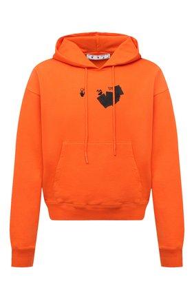 Мужской хлопковое худи OFF-WHITE оранжевого цвета, арт. 0MBB037F21FLE016 | Фото 1 (Материал внешний: Хлопок; Мужское Кросс-КТ: Худи-одежда; Принт: С принтом; Стили: Спорт-шик; Длина (для топов): Стандартные; Рукава: Длинные)