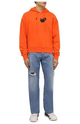 Мужской хлопковое худи OFF-WHITE оранжевого цвета, арт. 0MBB037F21FLE016 | Фото 2 (Материал внешний: Хлопок; Мужское Кросс-КТ: Худи-одежда; Принт: С принтом; Стили: Спорт-шик; Длина (для топов): Стандартные; Рукава: Длинные)