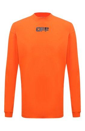 Мужская хлопковый лонгслив OFF-WHITE оранжевого цвета, арт. 0MAB032F21JER002 | Фото 1 (Материал внешний: Хлопок; Длина (для топов): Удлиненные; Рукава: Длинные; Принт: С принтом; Стили: Спорт-шик, Гранж)