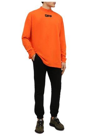 Мужская хлопковый лонгслив OFF-WHITE оранжевого цвета, арт. 0MAB032F21JER002 | Фото 2 (Материал внешний: Хлопок; Длина (для топов): Удлиненные; Рукава: Длинные; Принт: С принтом; Стили: Спорт-шик, Гранж)