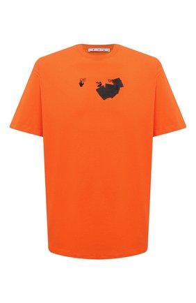 Мужская хлопковая футболка OFF-WHITE оранжевого цвета, арт. 0MAA038F21JER008 | Фото 1 (Рукава: Короткие; Материал внешний: Хлопок; Длина (для топов): Удлиненные; Принт: С принтом; Стили: Спорт-шик, Гранж)