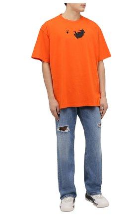 Мужская хлопковая футболка OFF-WHITE оранжевого цвета, арт. 0MAA038F21JER008 | Фото 2 (Рукава: Короткие; Материал внешний: Хлопок; Длина (для топов): Удлиненные; Принт: С принтом; Стили: Спорт-шик, Гранж)