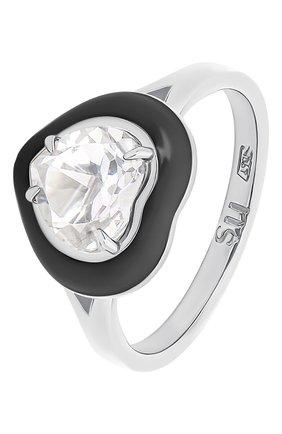 Женское кольцо с сердцем из горного хрусталя MOONKA черного цвета, арт. crg-r-crs | Фото 1 (Материал: Серебро)