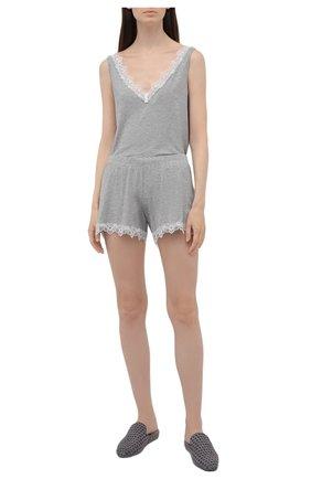 Женские шорты AUBADE серого цвета, арт. TL61 | Фото 2 (Длина Ж (юбки, платья, шорты): Мини; Материал внешний: Синтетический материал)