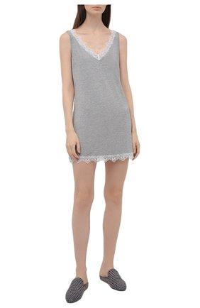 Женская сорочка AUBADE серого цвета, арт. TL40 | Фото 2 (Длина Ж (юбки, платья, шорты): Мини; Материал внешний: Синтетический материал)