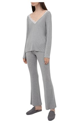 Женские брюки AUBADE серого цвета, арт. TL60 | Фото 2 (Материал внешний: Синтетический материал; Длина (брюки, джинсы): Стандартные)