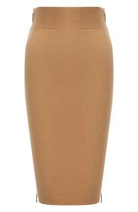 Женская юбка из кашемира и хлопка BURBERRY бежевого цвета, арт. 8042217 | Фото 1 (Материал внешний: Шерсть, Хлопок, Кашемир; Длина Ж (юбки, платья, шорты): До колена; Стили: Кэжуэл; Женское Кросс-КТ: Юбка-одежда)