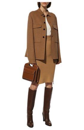 Женская юбка из кашемира и хлопка BURBERRY бежевого цвета, арт. 8042217 | Фото 2 (Материал внешний: Шерсть, Хлопок, Кашемир; Длина Ж (юбки, платья, шорты): До колена; Стили: Кэжуэл; Женское Кросс-КТ: Юбка-одежда)
