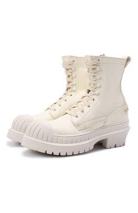 Женские кожаные ботинки ACNE STUDIOS кремвого цвета, арт. AD0417 | Фото 1 (Материал внутренний: Натуральная кожа; Подошва: Платформа; Каблук высота: Средний; Каблук тип: Устойчивый; Женское Кросс-КТ: Военные ботинки)
