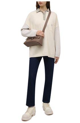 Женские кожаные ботинки ACNE STUDIOS кремвого цвета, арт. AD0417 | Фото 2 (Материал внутренний: Натуральная кожа; Подошва: Платформа; Каблук высота: Средний; Каблук тип: Устойчивый; Женское Кросс-КТ: Военные ботинки)