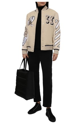 Женский шерстяной бомбер OFF-WHITE серого цвета, арт. 0WEH019F21FAB001 | Фото 2 (Материал подклада: Вискоза; Длина (верхняя одежда): Короткие; Материал внешний: Шерсть; Рукава: Длинные; Стили: Спорт-шик; Кросс-КТ: Куртка)