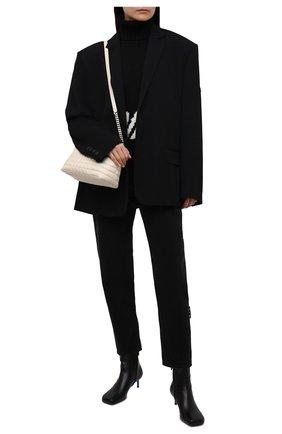 Женские кожаные ботильоны OFF-WHITE черного цвета, арт. 0WID011F21LEA0011000 | Фото 2 (Подошва: Плоская; Материал внутренний: Натуральная кожа; Каблук высота: Низкий; Каблук тип: Шпилька)