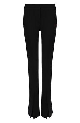 Женские брюки OFF-WHITE черного цвета, арт. 0WCA136F21FAB002 | Фото 1 (Материал внешний: Шерсть, Синтетический материал; Длина (брюки, джинсы): Удлиненные; Стили: Гламурный; Силуэт Ж (брюки и джинсы): Расклешенные)